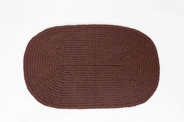 SANFATES RUG CARPET -gehaakt vloerkleed ovaal 100x60cm - CHOCOLADE BRUIN