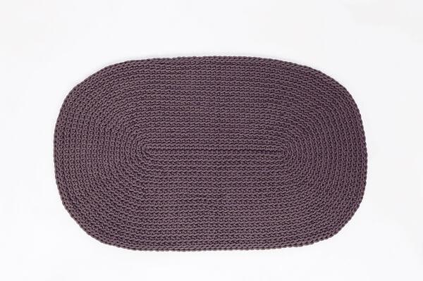 SANFATES RUG CARPET -gehaakt vloerkleed ovaal 100x60cm - GRAFIET GRIJS