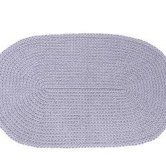 SANFATES RUG CARPET -gehaakt vloerkleed ovaal 100x60cm - GRIJS