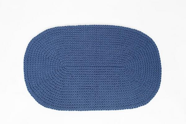 SANFATES RUG CARPET -gehaakt vloerkleed ovaal 100x60cm - JEANS BLAUW