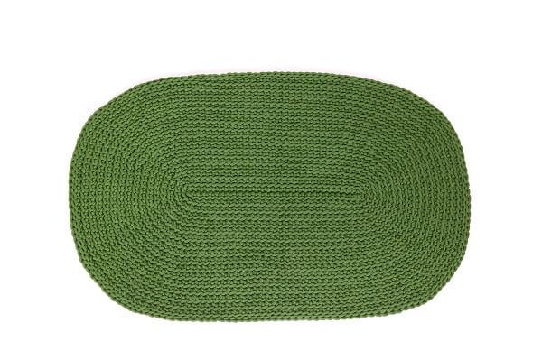 SANFATES RUG CARPET -gehaakt vloerkleed ovaal 100x60cm - OLIJF GROEN