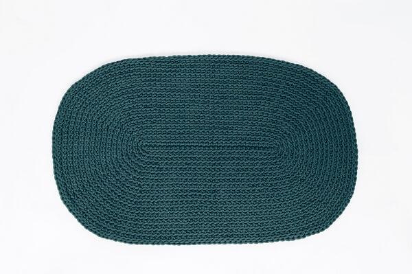 SANFATES RUG CARPET -gehaakt vloerkleed ovaal 100x60cm - SMARAGD GROEN