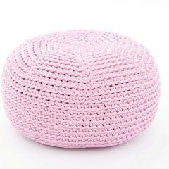 SanFates DO KIDS - gehaakte kinderpoef Ø40x20cm licht roze.Deze met de hand gehaakte kinderpoef DO heeft een mooie en iets ruwe textuur, een vrolijke uitstraling, frisse kleuren en is erg aangenaam om op te zitten.