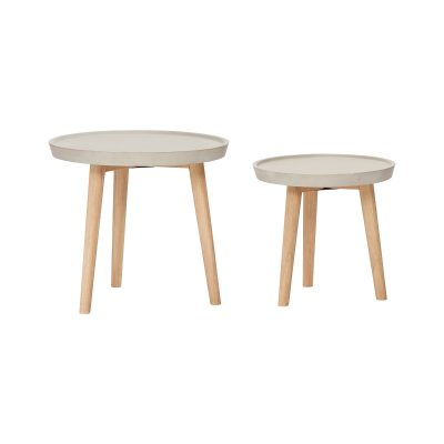 HUBSCH INTERIOR - Bijzettafeltjes van hout en beton 2x_set van 2 stuk (850407)