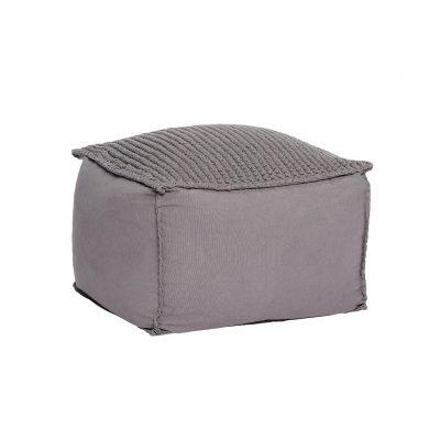 HUBSCH INTERIOR - Deze mooie POEF van grijs katoen is meteen afmeting van 50x50 cm lekker groot en kan bijv. ook prima gebruikt worden als bijzettafel.
