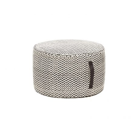 HUBSCH INTERIOR - Poef van grijs-wit katoen, Ø50x30cm