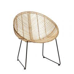 HUBSCH INTERIOR - Rotan loungestoel rond naturel-metaal -118015 (1)