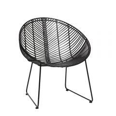 HUBSCH INTERIOR - Rotan loungestoel rond zwart metaal - 118014 (1)