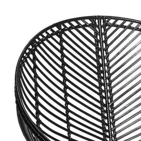 HUBSCH INTERIOR - Rotan loungestoel rond zwart metaal - 118014 (2)