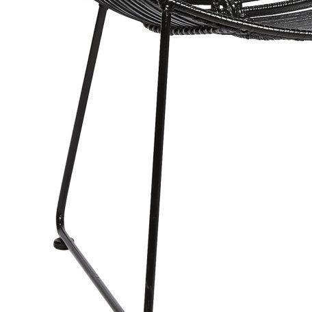 HUBSCH INTERIOR - Rotan loungestoel rond zwart metaal - 118014 (3)