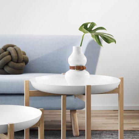 DESIGN HOUSE STOCKHOLM - ALBA vaas, bloemvaas met leren riem, wit