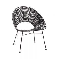 HUBSCH INTERIOR - Zwarte rotan loungestoel - zwart metaal (110609)