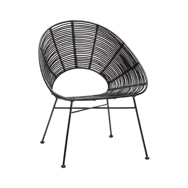 Zwarte Lounge Stoel.Hubsch Interior Zwarte Rotan Loungestoel Rond Onderstel Zwart Metaal