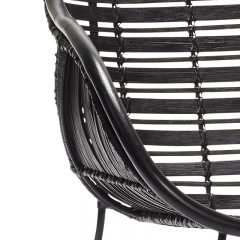 Hubsch Interior - Armstoel van zwart rotan - 67x68xh80cm - (110607)