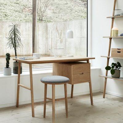 Hubsch Interior - Bureau met ladekast, 2 lades, eiken - 120x57xh75cm - (880503)