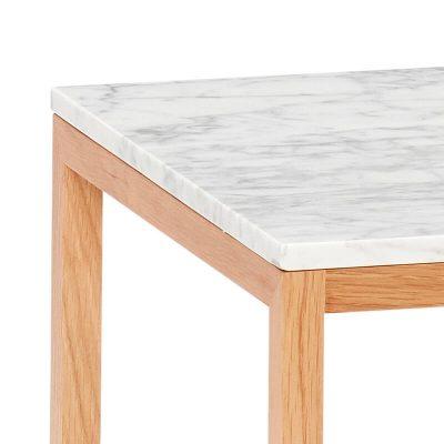 Hubsch Interior - Eiken bijzettafel met wit blad van marmer, vierkant - 40x40x40cm - (050401)