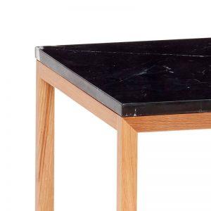Hubsch Interior - Eiken bijzettafel met zwart blad van marmer, vierkant - 40x40x40cm - (050402)
