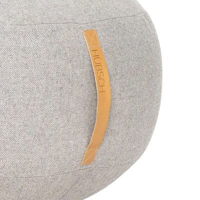 Hubsch Interior - Grote ronde POEF van wol, lichtgrijs - 700805