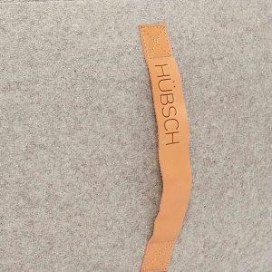 Hubsch Interior - Grote ronde POEF van wol, lichtgrijs 75x35cm (709005)
