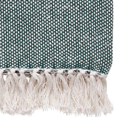 Hubsch Interior - Hamam plaid van groen met wit katoen - 140x200cm - (390603)
