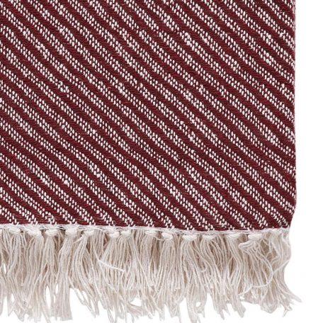Hubsch Interior - Hamam plaid van rood met wit katoen - 140x200cm - (390604)_ 3