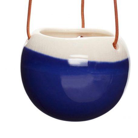 Hubsch Interior - Hangpotten met leren band (set) - navy, roze, blauw - 11xh10cm - (800403)