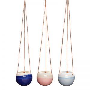 Hubsch Interior - Hangpotten set met leren band - blauw, roze, navy - 13xh11cm - (800404)