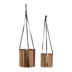 Hubsch Interior - Metalen hangpotten set met leren banden, messing - 10xh10 14xh14cm - (670315)_1