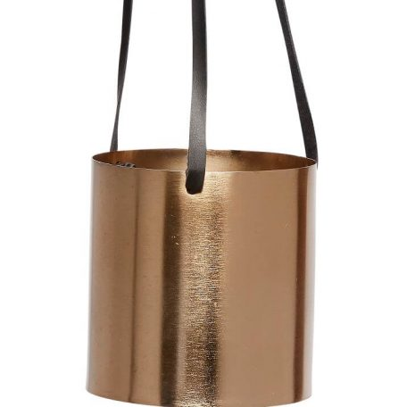 Hubsch Interior - Metalen hangpotten set met leren banden, messing - 10xh10 14xh14cm - (670315)_2