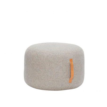 Hubsch Interior - Ronde POEF van wol, lichtgrijs 50x50x35cm (700501)