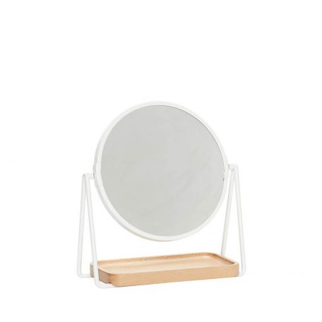 Hubsch Interior - Ronde make-up spiegel mat wit - 21x10x25cm - (210506)