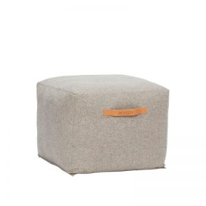 Hubsch Interior - Vierkante POEF van wol, lichtgrijs 45x45x35cm (700502)