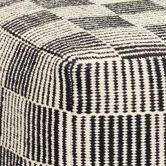 Hubsch Interior - Vierkante POEF van zwart-wit katoen (740601)