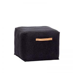 Hubsch Interior - Vierkante zwarte POEF van wol, 45x45x35cm (700504)