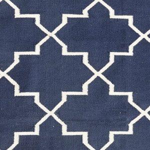 Hubsch Interior - Vloerkleed van donkerblauw en naturel katoen - 120x180cm -(500118)