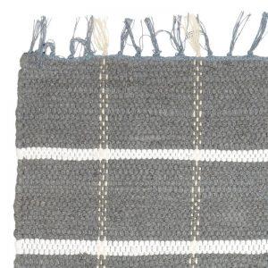 Hubsch Interior - Vloerkleed van grijs wit katoen - 60x120cm - (810304)