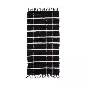 Hubsch Interior - Vloerkleed van zwart wit katoen - 60x120cm - (810306)