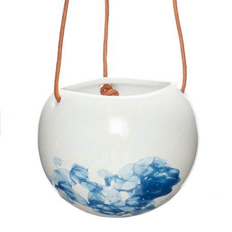 Hubsch Interior - Wit blauwe hangpotten met leren band (800503)