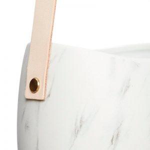 Hubsch Interior - Witte hangpot met grijs en leren band12x12xh35cm - (140301)