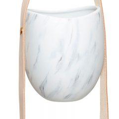 Hubsch Interior - Witte hangpotten met grijs en leren band- 12x12xh60cm - (140302)