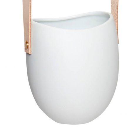 Hubsch Interior - Witte hangpotten met leren band12xh60cm - (140304)_2