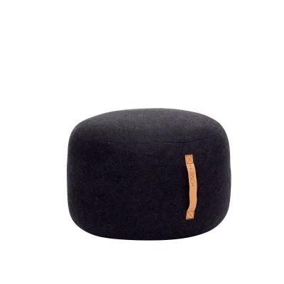Hubsch Interior - Zwarte ronde POEF van wol, 50x50x35cm (700503)