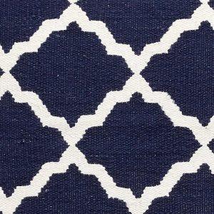Hubsch Interior - Donkerblauw sierkussen met wit patroon - 60x60cm - (920304)