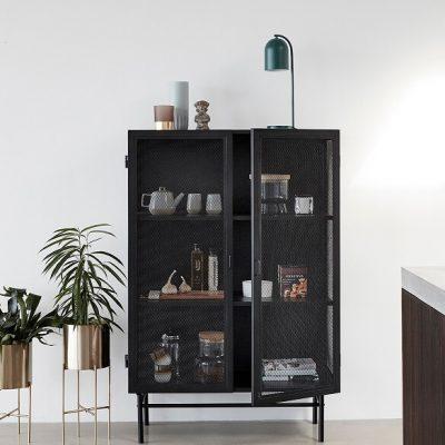 Hubsch Interior - Gaaskast van zwart metaal 100x45xh150cm (020608)