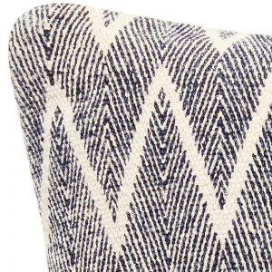 Hubsch Interior - Geweven kussen van donkerblauw en naturel katoen - 50x50cm - (500208)