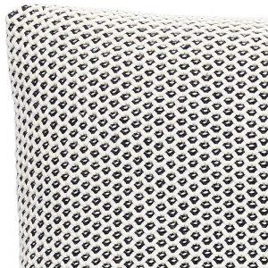 Hubsch Interior - Geweven kussen van wit en donkerblauw katoen - 50x50cm - (220304)