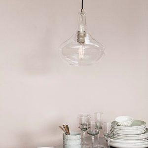 Hubsch Interior - Glazen karaf hanglamp met messing fitting - (890503)