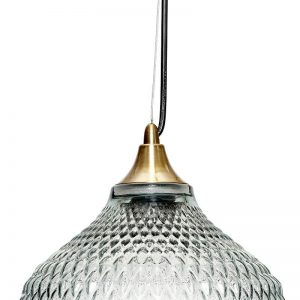 Hubsch Interior - Hanglamp van blauw glas met relief, messing fitting - (950101)