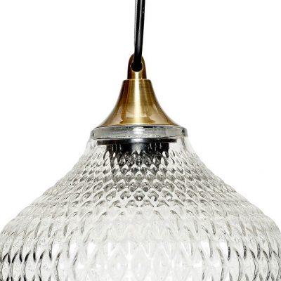 Hubsch Interior - Hanglamp van glas met relief, messing fitting - (950102)