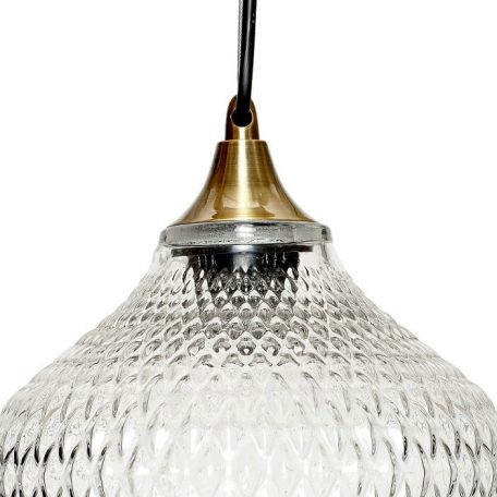Hubsch Interior - Hanglamp van glas met relief, messing fitting - (950102)